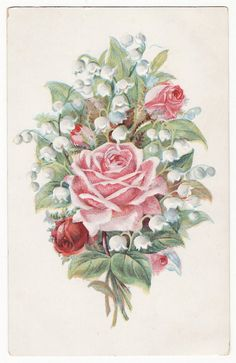 Vintage Postcard with Pink Roses and Lily of the Valley