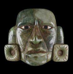 Mask, Guatemalan (Mayan style), Guatemala, AD 250-850 (?) (Classic (?)),  jadeite. H: 3 1/8 x W: 3 1/2 x D: 1 in. (7.9 x 8.9 x 2.6 cm. TL.2009.20.298.  The John Bourne Collection Gift. Walters Art Museum
