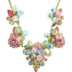 Juliana Pastel Rhinestone Bead Necklace C1960s DeLizza Elster Book Piece
