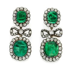 Pair of antique emerald and diamond earrings, circa 1890