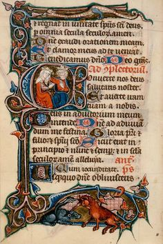 Office for the dead. Folio/Page #: fol. 221v. Beginning of fourteenth century, French, made in Metz. Text: beginning of Compline (Hours of the Virgin).