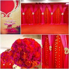 Orange & pink color themed engagement ceremony