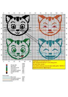 Mes petites croix et moi ! - Page 20 - Mes petites croix et moi ! Tunisian Crochet, Filet Crochet, Chat Crochet, Charts And Graphs, Origami, Cat Pattern, Crochet Animals, Hama Beads, Needlepoint
