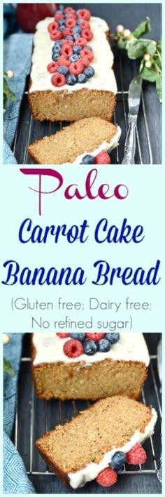 Paleo Carrot Cake Banana Bread (Grain free, dairy free, gluten free, no refined sugar) - Banana Bread - Carrot Cake - Paleo Banana Bread - Paleo Carrot Cake - Gluten Free Banana Bread - From Pure and Simple Nourishment Carrot Banana Cake, Paleo Carrot Cake, Gluten Free Banana Bread, Sin Gluten, Sem Gluten Sem Lactose, Dairy Free Recipes Easy, Real Food Recipes, Yummy Food, Paleo Recipes