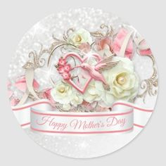 Pretty Floral Wreath Happy Mother's Day Classic Round Sticker   Zazzle.com Mothers Day Cards, Happy Mothers Day, Mothers Day Classic, Mather Day, Flowers For Mom, Happy Birthday Wishes Images, I Love Mom, Round Stickers, Different Shapes
