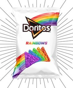 You'll want to check out Doritos Rainbows. Doritos teamed up with the It Gets Better Project to create limited-edition chips to help support the LGBT community. Rainbow Food, Love Rainbow, Taste The Rainbow, Rainbow Pride, Over The Rainbow, Rainbow Colors, Rainbow Things, Rainbow Treats, Rainbow Stuff