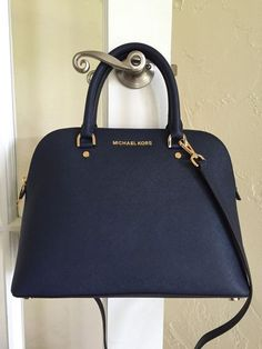 Michael Kors Cindy Large Dome Satchel Saffiano Leather Navy Blue – Purses And Handbags Totes Michael Kors Clutch, Outlet Michael Kors, Michael Kors Cindy, Michael Kors Designer, Handbags Michael Kors, Mk Handbags, Fashion Handbags, Purses And Handbags, Fashion Bags
