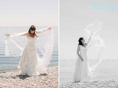 Toronto Wedding. The Beach. Bride with long veil .