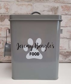 This tin is absolutely stunning and one of our personal favourites. It is grey powder coated, high gloss and high quality. Personalised Scrapbook, Personalised Frames, Dishwasher Tabs, Laundry Pods, Gotcha Day, Grey Dog, Photo Album Scrapbooking, Jar Gifts, Absolutely Stunning