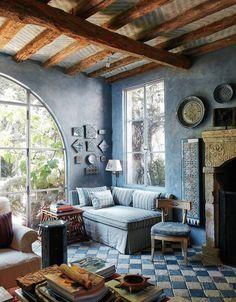 Malibu interior designed by Richard Shapiro  Bona fide antiques and some age-adding craftiness turn a new house on the Pacific coast into a timeworn Mediterranean villa.
