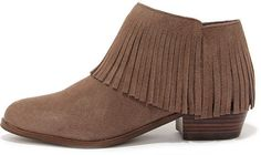 Steve Madden Patzee Taupe Suede Leather Fringe Booties