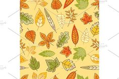 Autumn leaves seamless pattern Graphics Autumn leaves seamless pattern with colorful red, yellow, orange and green outline herbs and leaves by Vector Tradition SM