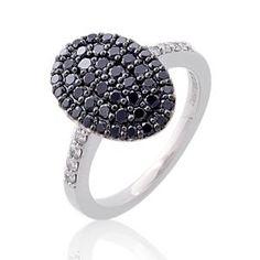 #Malakan #Jewelry - Silver Black Velvet Diamond Ladies Fashion Ring 71192CA3 #BlackVelvetDiamond #BlackVelvetDiamonds