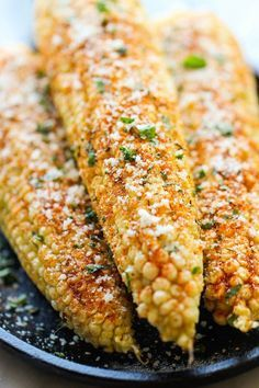 Mexican Corn on the Cob by damndelicious: This is the best way to serve corn, brushed with melted butter and sprinkled with chili powder, cheese and lime!