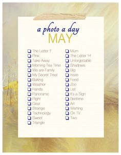 A Photo A Day ~ May Checklist | Akemi Photography #ForTheFamiliographer #WhatToShoot #PhotoChecklist