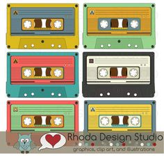 Retro Cassette Tapes Colored Images Digital Clip Art Vintage Music. $5.95, via Etsy.