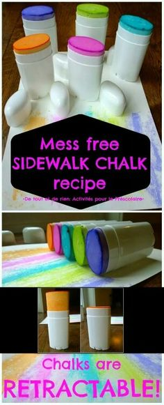 Sidewalk chalk in containers! Awesome!