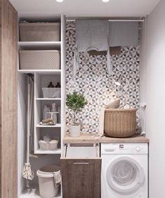 Who says that having a small laundry room is a bad thing? These smart small laundry room design ideas will prove them wrong. Small Laundry Rooms, Laundry Room Organization, Laundry In Bathroom, Small Rooms, Bathroom Storage, Small Bathroom, Laundry Decor, Laundry Storage, Bathroom Ideas