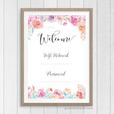 Printable Wall Art: Wifi Password Print. Free printable. Write in your wifi network and password, frame it, then place it in your guest room.                                                                                                                                                                                 More