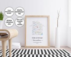 Trendy Printable Art / Designer Wall Decor / Art by PrintsPhotoTK Personalized Housewarming Gifts, First Home Gifts, House Map, First Anniversary Gifts, Custom Map, Vintage Maps, Where The Heart Is, Cool Walls, Christmas Home