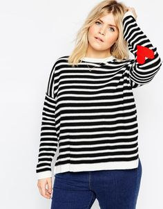 6ba6a31aaea Plus Size Stripe Sweater With Heart Elbow Patch Plus Size Fashion For  Women