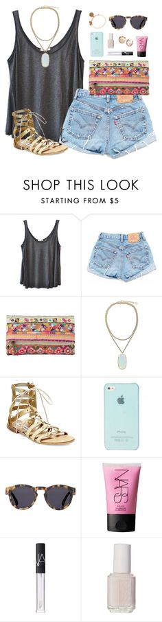 """sunday"" by classically-preppy ❤ liked on Polyvore featuring American Vintage, MANGO, Kendra Scott, Steve Madden, Illesteva, NARS Cosmetics, Essie, Alex and Ani, women's clothing and women"
