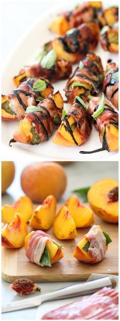 Bacon Wrapped Grilled Peaches with Balsamic Glaze- for the meat eaters! Bacon Wrapped Grilled Peaches with Balsamic Glaze- for the meat eaters! Appetizers For Party, Appetizer Recipes, Meat Appetizers, Tapas Recipes, Fish Recipes, Peach Appetizer, Pasta Recipes, Catering Recipes, Catering Ideas