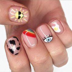 Sun Nails, Fire Nails, Edgy Nails, Stylish Nails, Edgy Nail Art, Hippie Nails, Acylic Nails, Manicure E Pedicure, Simple Nail Designs