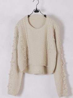 Women Euro Style Autumn Long Sleeve Scoop Ivory Knitting Sweater One Size@WH0174i