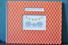 Personalized Baby Book, LGBT, Adoptive, Single, Straight, Lesbian, Gay, SameSex Parents! Elephant Dark orange patterned cover. Personalized....