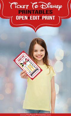 Digital Printables For Fun Family Moments & Memories by bluebirdpapershoppe Printable Ticket To Disney Disneyland Paris, Disney World Tickets, Disney World Trip, Disney Vacations, Disney Trips, Disney Cruise, Disney Diy, Disney Land, Disney Parks