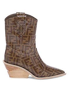 50ba4d5bafb Fendi Heeled Logo Leather Cowboy Boots