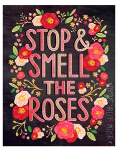 post near bedroom door. :D Rose. ~Stop and smell the roses by Jessie Schneider / Yellow Button Studio, via Behance Bible Verses Quotes, Sign Quotes, Lettering, Typography Design, Love Words, Beautiful Words, Mary Engelbreit, Branding, Rose Cottage