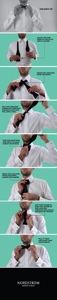 How to Tie a Bow Tie Infographic. (This is way easier with a video).