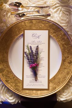 Gold Trim Dinnerware and Menus with Sprigs of Lavender