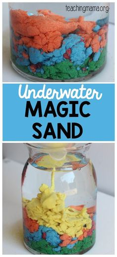 Magic Sand Underwater Magic Sand - this is such a cool science experiment! Kids will love it!Underwater Magic Sand - this is such a cool science experiment! Kids will love it! Science Week, Summer Science, Science Activities For Kids, Science Fair, Science For Kids, Earth Science, Physical Science, Science Classroom, Science Chemistry