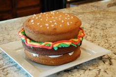 Cub Scout cake auction idea - hamburger cake