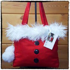 Bright Red Handmade Santa Purse / Grey/White Snowflake Lining Christmas Purse, Red Christmas, Christmas Themes, Handmade Christmas, Diy Tote Bag, Diy Purse, Homemade Bags, Christmas Accessories, White Snowflake