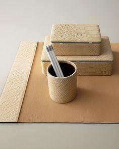 Nieman Marcus I Crocodile-Embossed Desk Accessories