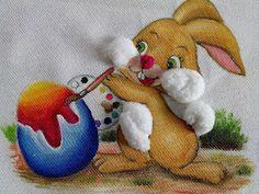 Solange Gama Coelho: Pintura em Tela,Tecido,Cursos-9196-6422(Claro),9854-3743(Tim)-Curitiba: Pintura em tecido coelho de páscoa