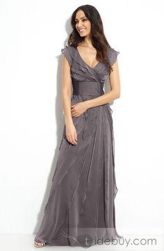 Elegant Sleeveless Floor-length Ruffling V-neck Mother Of The Bride