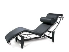 Chaise longue Le Corbusier   France, 1928  Designed by Le Corbusier in association with his partner, Charlotte Periand, and used in the furnishing of his Villa d'Avray, this is the first chaise to be made adjustable by simply moving the whole seat element within its quite separate support frame. The seat is padded pony skin, supported by steel tension springs on a shallow curve of chromium-plated tubular steel