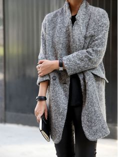 classic grey coat & watch #style #fashion #accessories