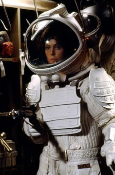 Sigourney Weaver goes full spacesuit in a publicity still for Alien (1979)