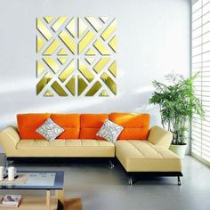 The Mirrored Chevron Print Wall Decoration is a beautiful decorative addition to any room in your home. It is easy to install and adds very classy touch to any decor. This 32 piece acrylic wall sticker kit that comes in 3 colors and 3 sizes. Home Decor Mirrors, Wall Stickers Home Decor, Mirror Stickers, Reproductions Murales, Diy Casa, Rose Wall, 3d Home, European Home Decor, Unique Home Decor