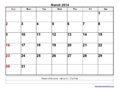 Printable Calendar 2014 March Templates