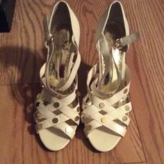 White BCBG Sandal Heels White BCBG Sandal Heels - Strappy - Gold accents - 4 inch heel BCBG Shoes Sandals