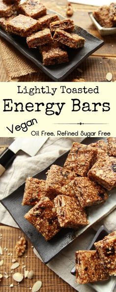 Lightly toasted homemade energy bars. Refined sugar free, vegan and oil free, this delicious snack is easy to prepare, ready in roughly 15 minutes, and packed with goodness. #veganrecipes #plantbased