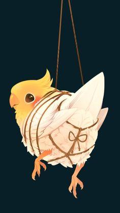 Like cockatiel bondage? Bird Drawings, Animal Drawings, Cute Drawings, Animals And Pets, Cute Animals, Kawaii Doodles, Animal Sketches, Cute Birds, Illustrations