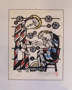 Sadao Watanabe Block Print Depicting Jesus Washing St Peters Feet Biblical Art, Visionary Art, Jesus Loves, Printmaking, Jesus Christ, Mystic, Folk Art, Modern Art, Banner Ideas
